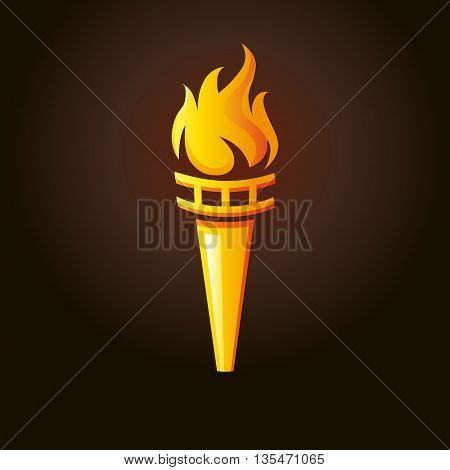 Golden torch of flame vector illustration on dark brown background. Golden torch of fire. Big games and competitions symbol