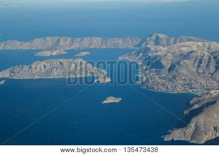 Elevated view of Greek Telendos and part of Kalymnos island Dodecanese archipelago in Aegean sea
