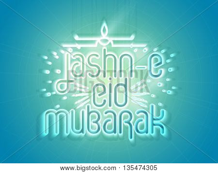 Beautiful Glowing Greeting Card design for Jashn-E-Eid Mubarak, Creative typographical background for Muslim Community Famous Festival celebration.