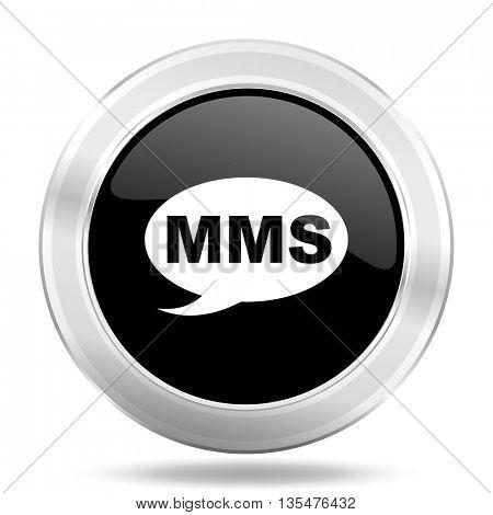mms black icon, metallic design internet button, web and mobile app illustration