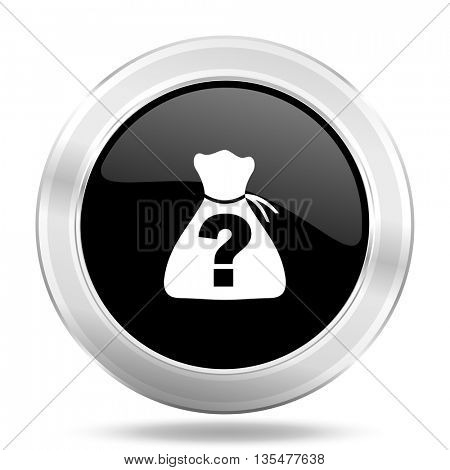 riddle black icon, metallic design internet button, web and mobile app illustration