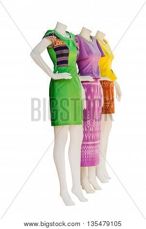 Thai dresses on mannequins isolate white background with clippingpath poster