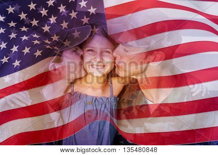 Digitally generated united states national flag against soldier couple reunited with their daughter