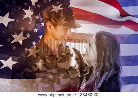 Focus on usa FLAG against happy american soldier reunited with his partner