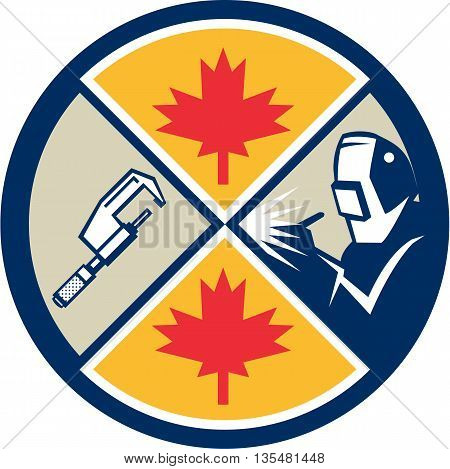 Illustration of a millwright caliper welder and Canada maple leaf set inside circle done in retro style.