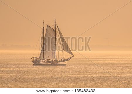 Vintage Sailing Ship Sunset