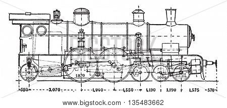Krauss locomotive has axle auxiliary motor, vintage engraved illustration. Industrial encyclopedia E.-O. Lami - 1875.
