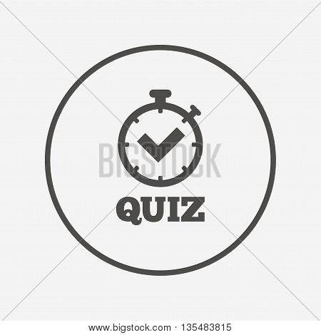Quiz sign icon. Questions and answers game. Flat quiz timer icon. Simple design quiz timer symbol. Quiz timer graphic element. Round button with flat quiz timer icon. Vector