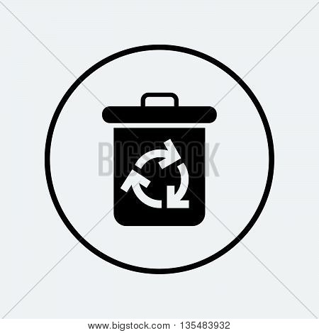 Recycle bin icon. Reuse or reduce symbol. Flat recycle bin icon. Simple design recycle bin symbol. Recycle bin graphic element. Round button with flat recycle bin icon. Vector poster