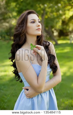 beautiful woman with long hair, beauty, hair and eco cosmetology.