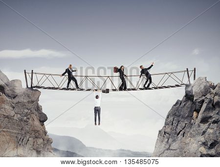 3D Rendering of people walking over a crumbling bridge