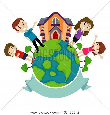 Vector Illustration of Globe with Family Set and Blank Banner
