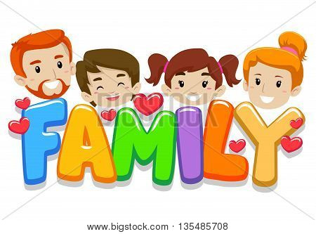 Vector Illustration of Family Head with Letters
