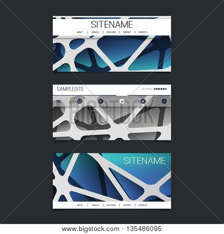 Web Design Elements - Header Design Set with Abstract 3D Blue and Grey Networks Pattern Background