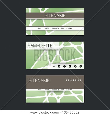 Web Design Elements - Header Design Set with Abstract Green Networks Pattern Background