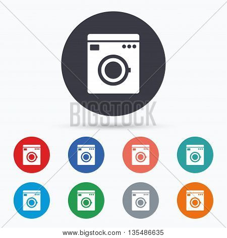 Washing machine icon. Home appliances symbol. Flat washing machine icon. Simple design washing machine symbol. Washing machine graphic element. Circle buttons with washing machine icon. Vector