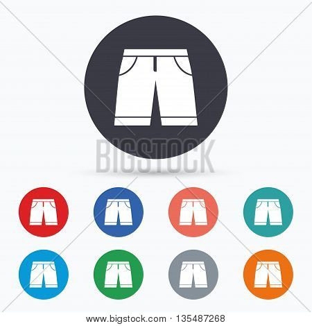 Men's Bermuda shorts sign icon. Clothing symbol. Flat bermuda shorts icon. Simple design bermuda shorts symbol. Bermuda shorts graphic element. Circle buttons with bermuda shorts icon. Vector