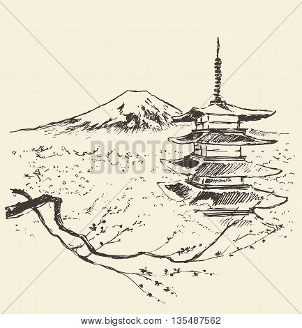 Illustration of Fuji mountain with pagoda and cherry blossoms