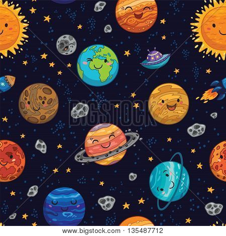 Seamless pattern with hand drawn cartoon astro collection - Sun, Mercury, Venus, Earth, Mars, Jupiter and Saturn, Uranus and Neptune. Childish background. Vector illustration.