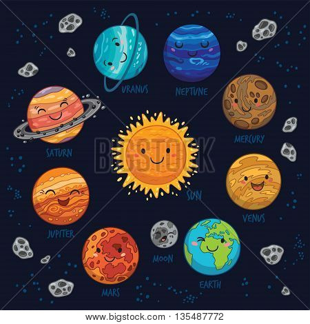 Cartoon planet of solar system - Sun, Mercury, Venus, Earth, Mars, Jupiter and Saturn, Uranus and Neptune. Planet vector set. Planets collection silhouette.