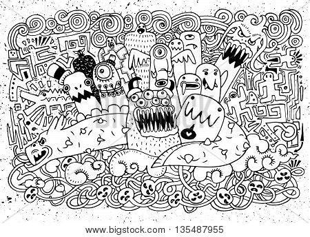Vector Illustration Of Monsters And Cute Alien Friendly, Cool, Cute Hand-drawn Monsters