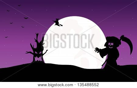 Silhouette of warlock, witch and monster Halloween illustration