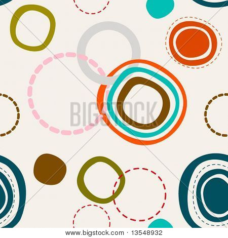 seamless retro pattern with circles and dots, vector illustration