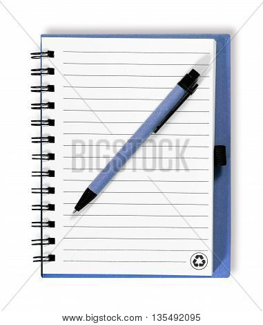 Note book with pen. isolated on white background