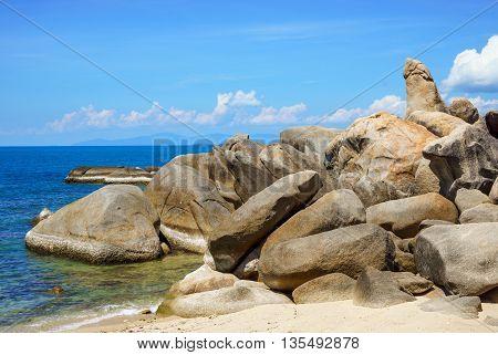 Hin ta or Grandfather's rock Ko Samui landmark Thailand