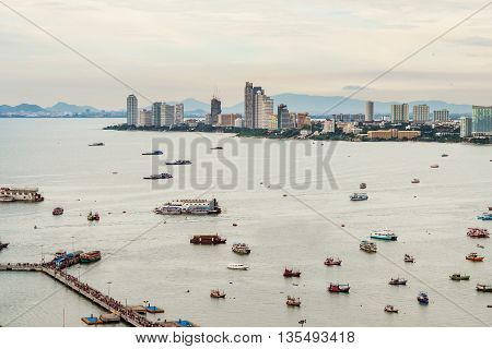 Pattaya city, cityscape with commercial trade habour in Thailand