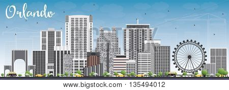 Orlando Skyline with Gray Buildings and Blue Sky. Business Travel and Tourism Concept with Orlando City. Image for Presentation Banner Placard and Web Site.
