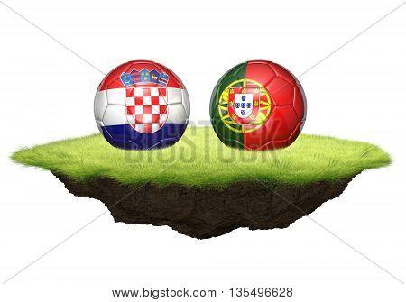 Croatia vs Portugal team balls for football championship tournament, 3D rendering