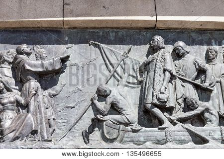 Details of Columbus Monument Barcelona Spain. Bronze statue sculpted by Rafael Atche situated on top of a 40-meter Corinthian column.