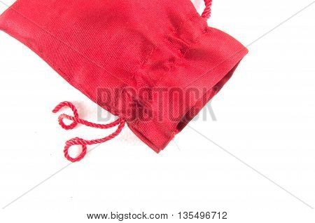 Red velvet bag for gift`s and jewelery isolated on white