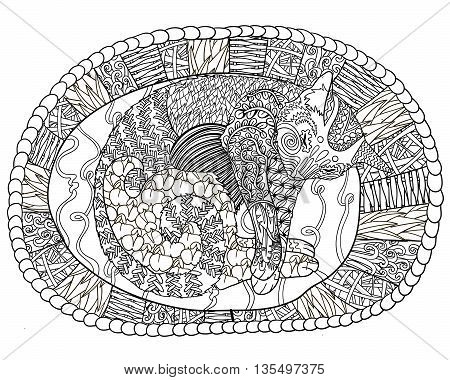 High detail illustration in zen tangle style. Adult coloring page for antistress art therapy. Sleeping cat in the basket. Template for t-shirt, tattoo, poster or cover. Vector illustration.