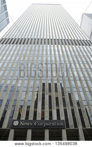 NEW YORK - JUNE 16, 2016: News Corporation headquarters building in New York City. News Corporation is an American diversified multinational mass media corporation