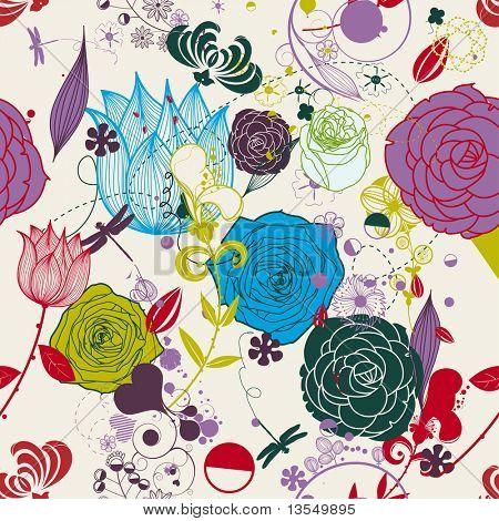 Vektor Retro floral (seamless Pattern)