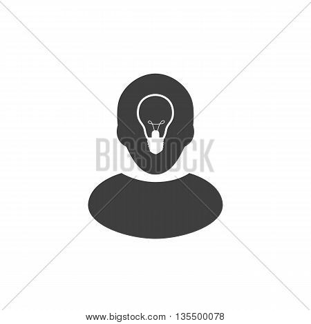 Human head with lamp inside. Ide icon or logo isolated on white background. Vector.