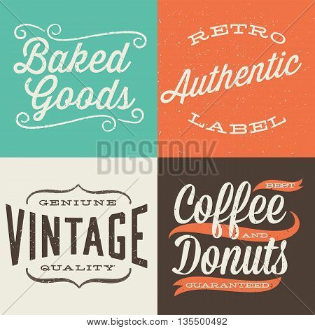 Vintage Typographic Labels - Set of retro label designs.  Colors are global and each design is grouped for easy editing.