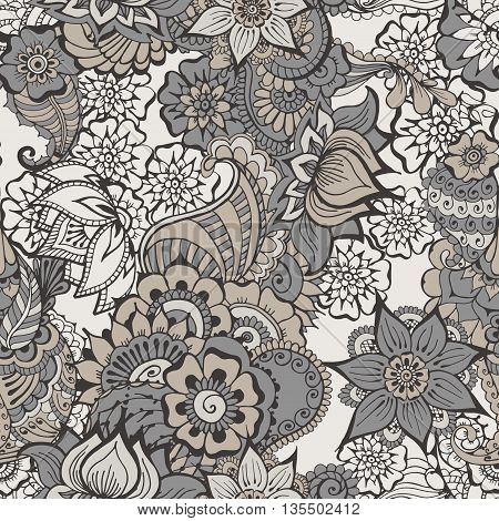 Floral background with indian ornament. Seamless pattern in grey colors for your design pattern fills web page backgrounds surface textures.