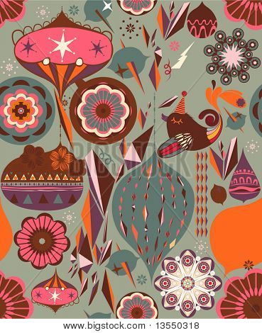 Vector Retro Floral (Seamless Pattern)