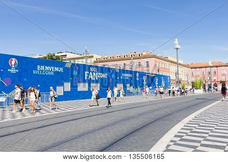 NICE FRANCE - June 20 2016: View of the fan zone for the Euro cup 2016 in the Place Massena. Nice is one of the ten cities where the matches are played during the Euro 2016.