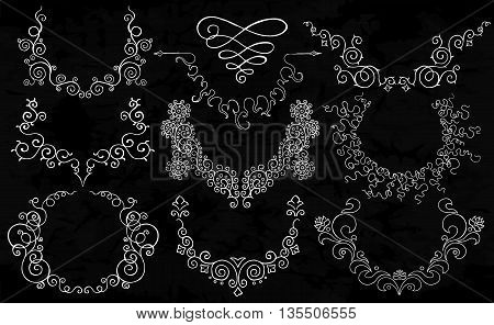 Semicircular ornaments reminding a necklace. Floral vector pattern. Wreathes with place for text on old black background.