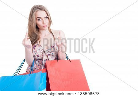 Rude Young Shopping Female Showing Both Middle Fingers