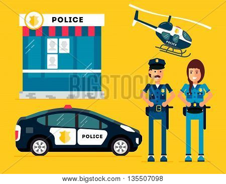 City police station department building with policeman and woman and police car and police helicopter in flat style isolated on good yellow background