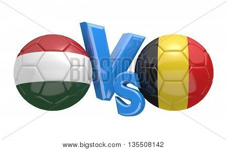 Football competition between national teams Hungary and Belgium, 3D rendering