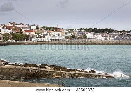 Town of Saint Peter Port on Guernsey island, UK