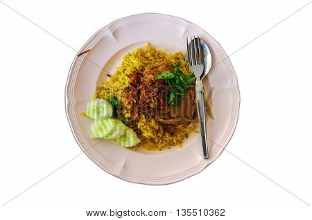 Stock Photo - Chicken biryani with spices Thai call Koa -Mook-Gai