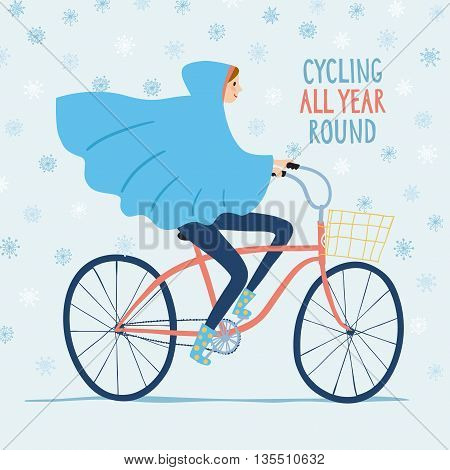 Girl in raincoat riding on a bicycle under the snow. Cycling all year round title. Hand drawn cartoon illustration.
