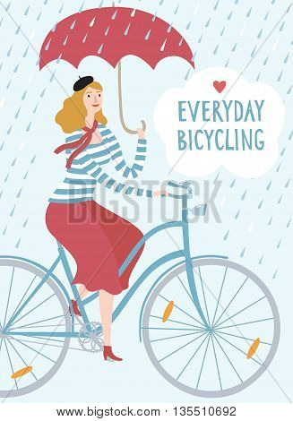 French style woman with umbrella riding on a bicycle under the rain. Everyday bicycling title. Hand drawn cartoon illustration.